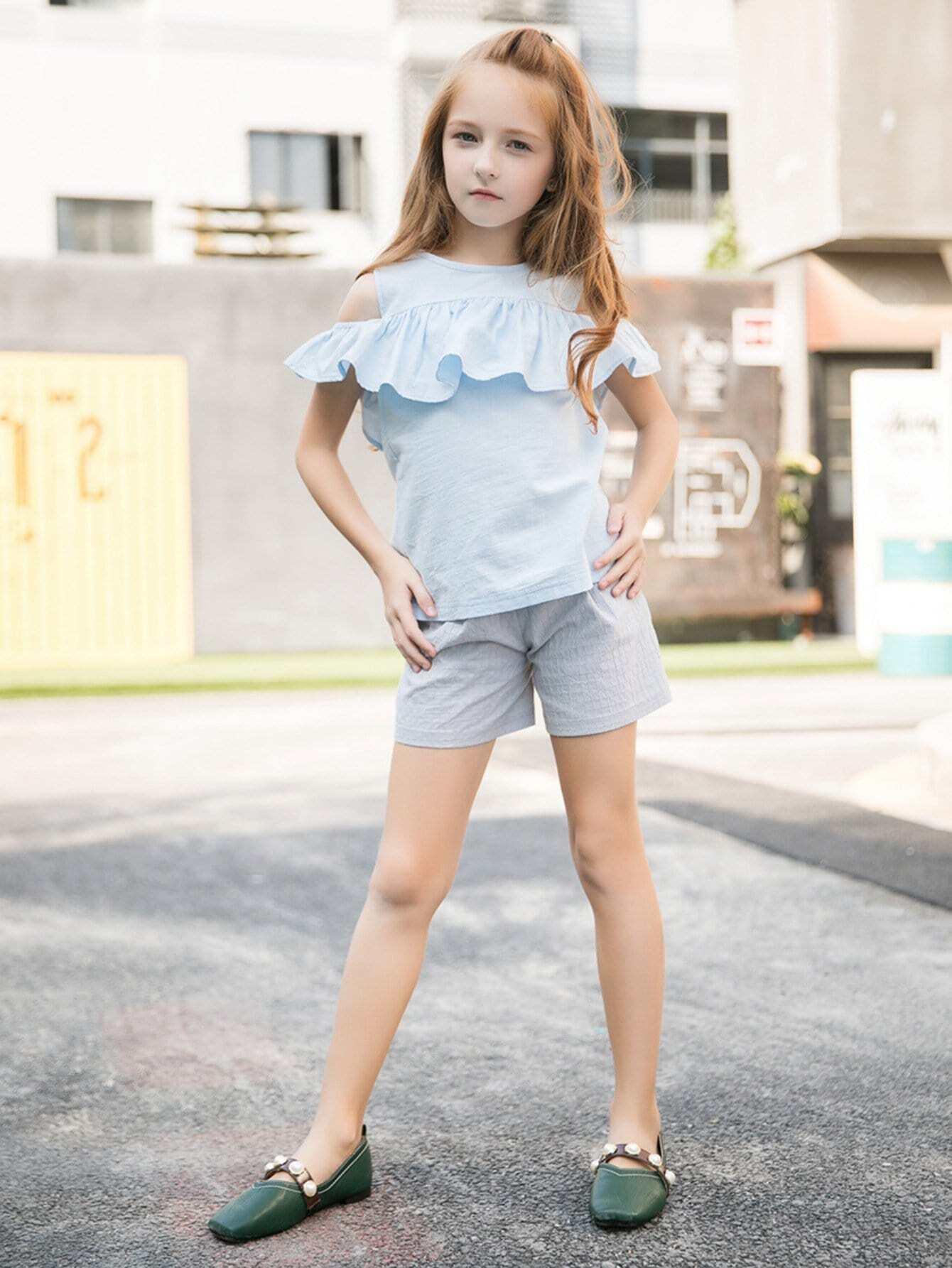Kids Ruffle Trim Blouse With Plain Shorts kids plain denim blouse