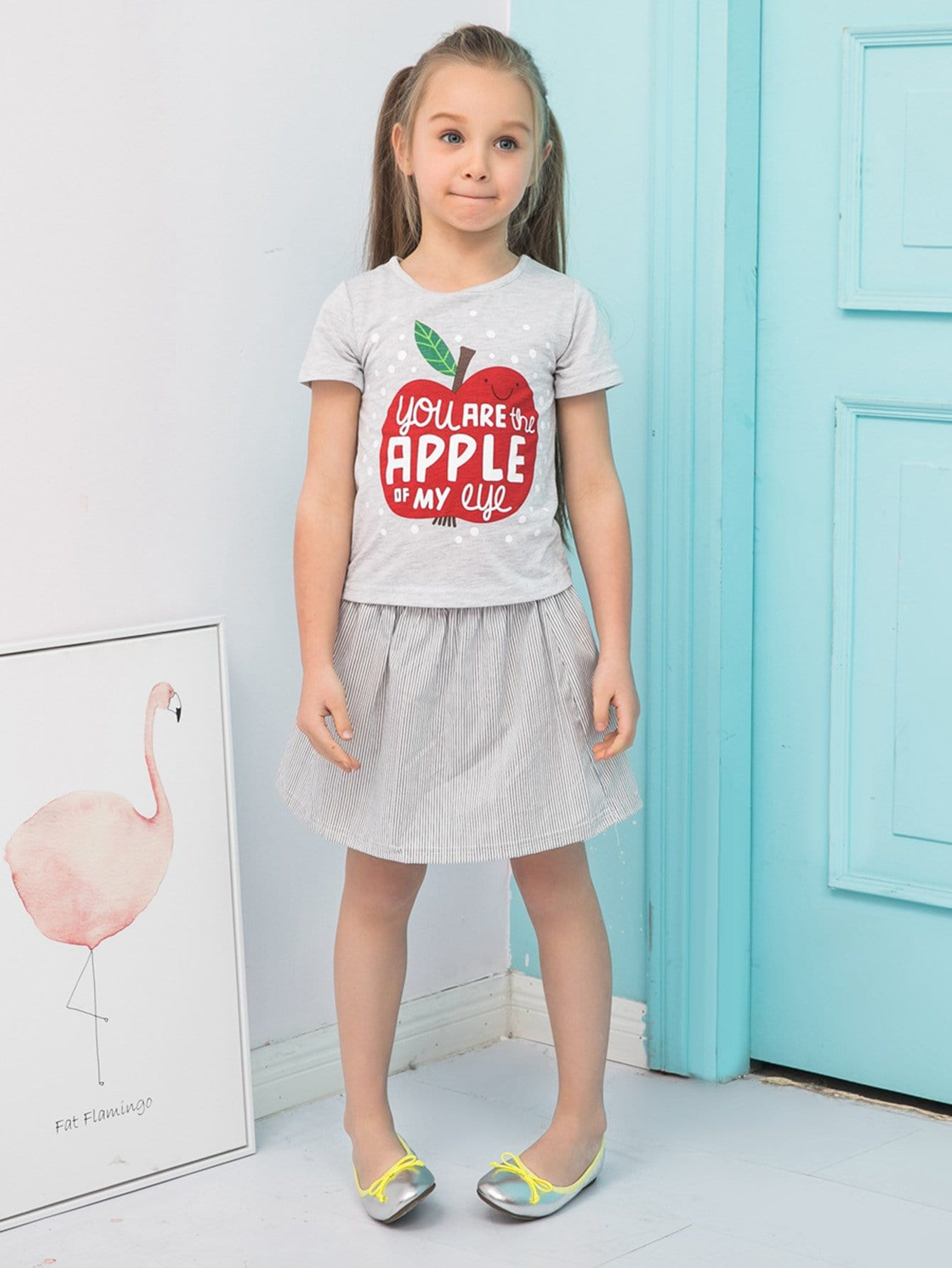 Kids Letter And Apple Print Tee With Striped Skirt kids star and letter print striped blouse