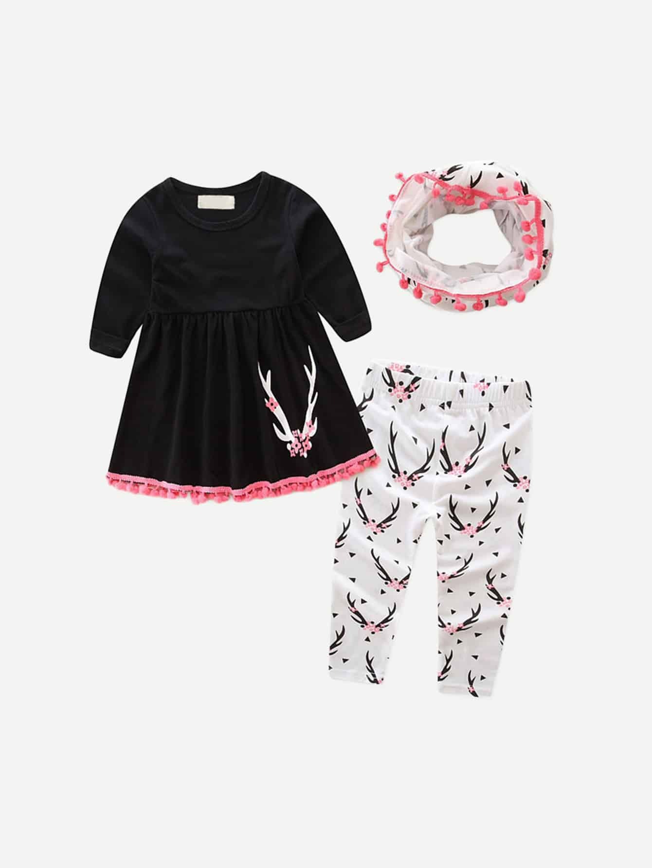 Kids Pom Pom Pleated Top And Floral Print Pants With Scarf kids floral print pants