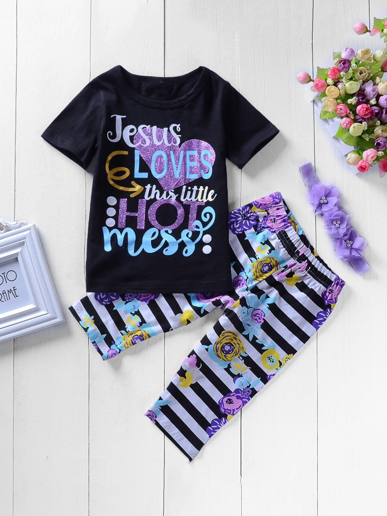 Girls Letter Print Tee With Striped Floral Print Pants kids letter print sleeveless tee with tropical print pants