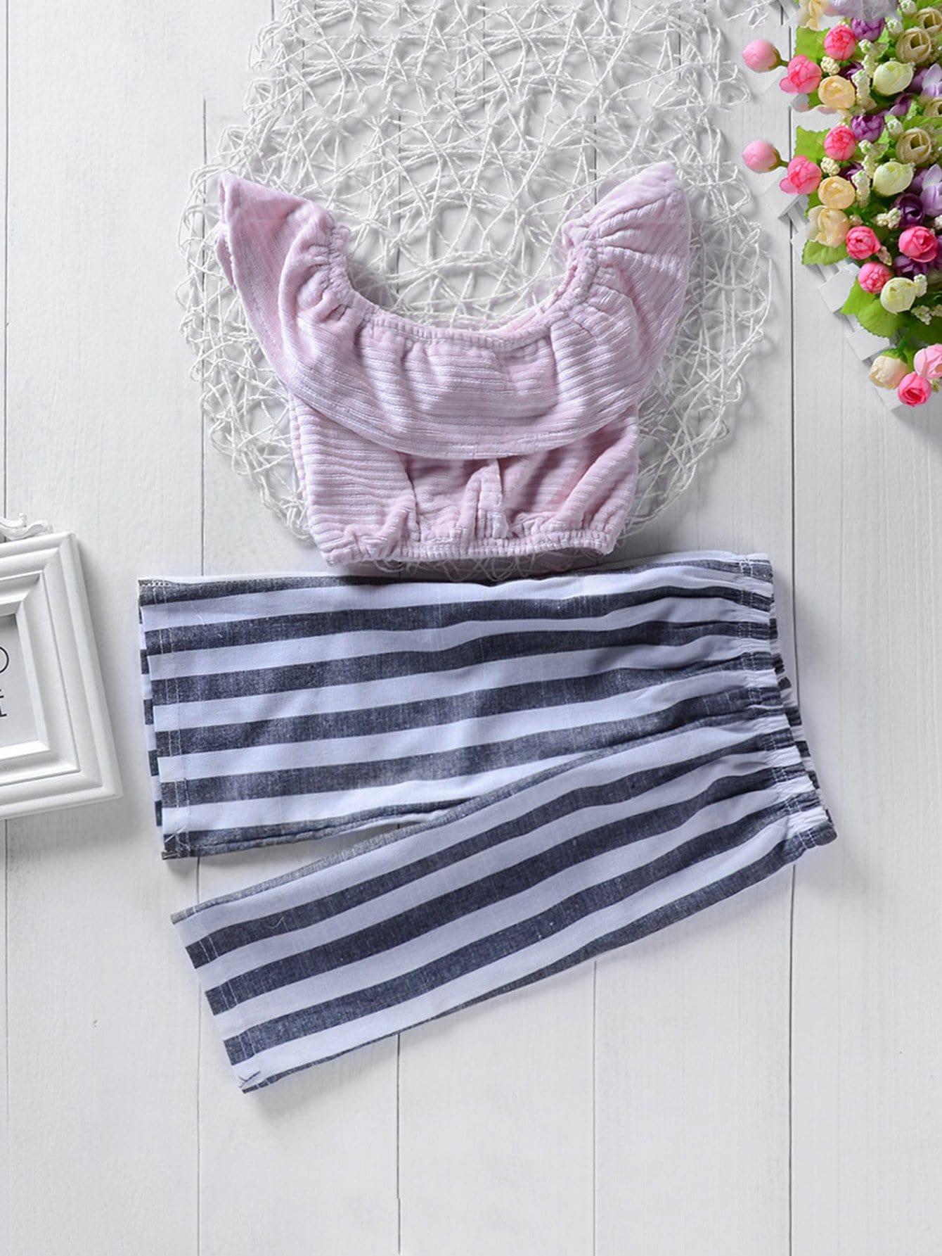 Детская полосатая крышка с брюками, null, SheIn  - купить со скидкой