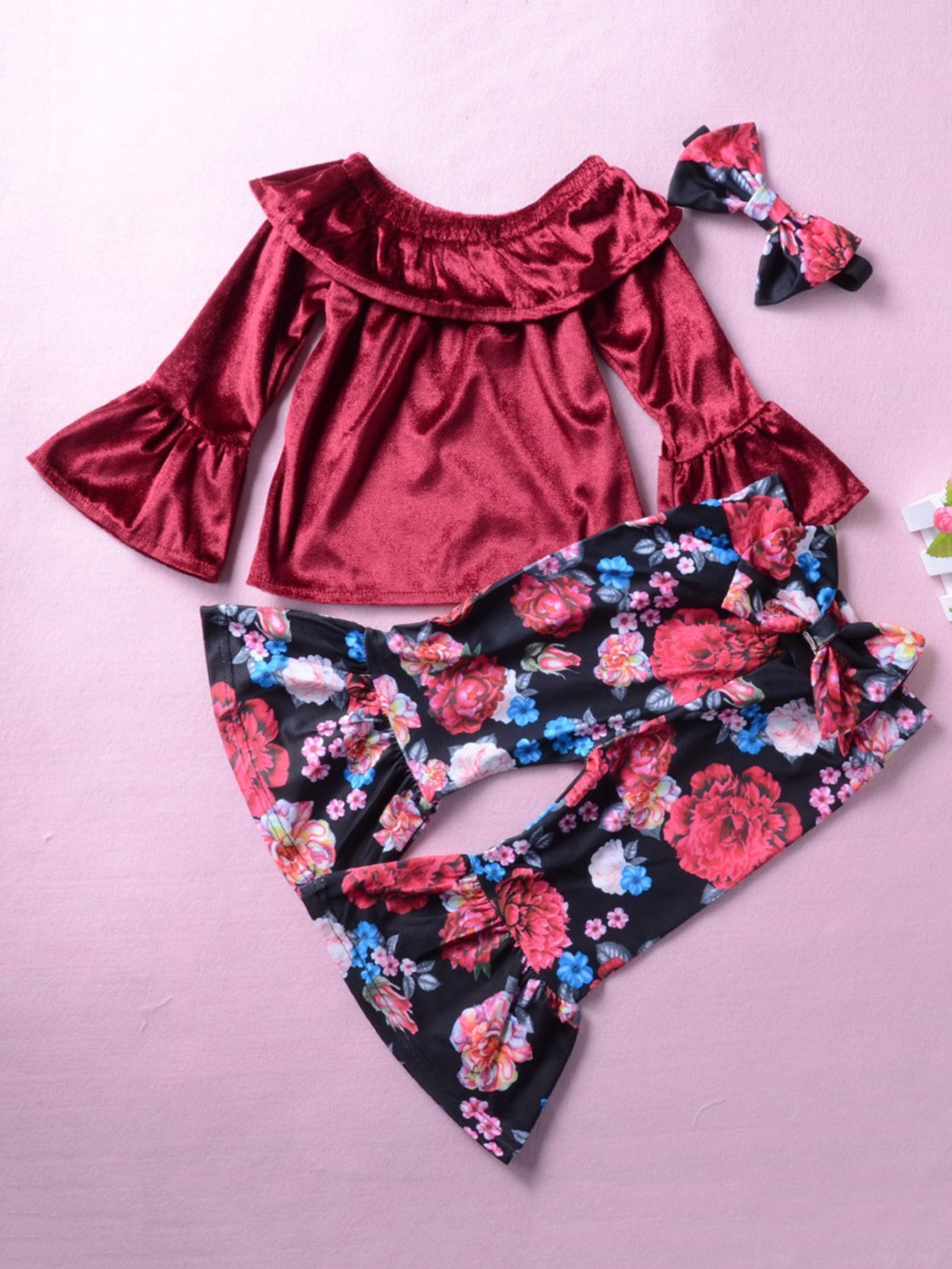 Kids Velvet Blouse With Floral Print Flare Pants kids velvet hoodie with pants