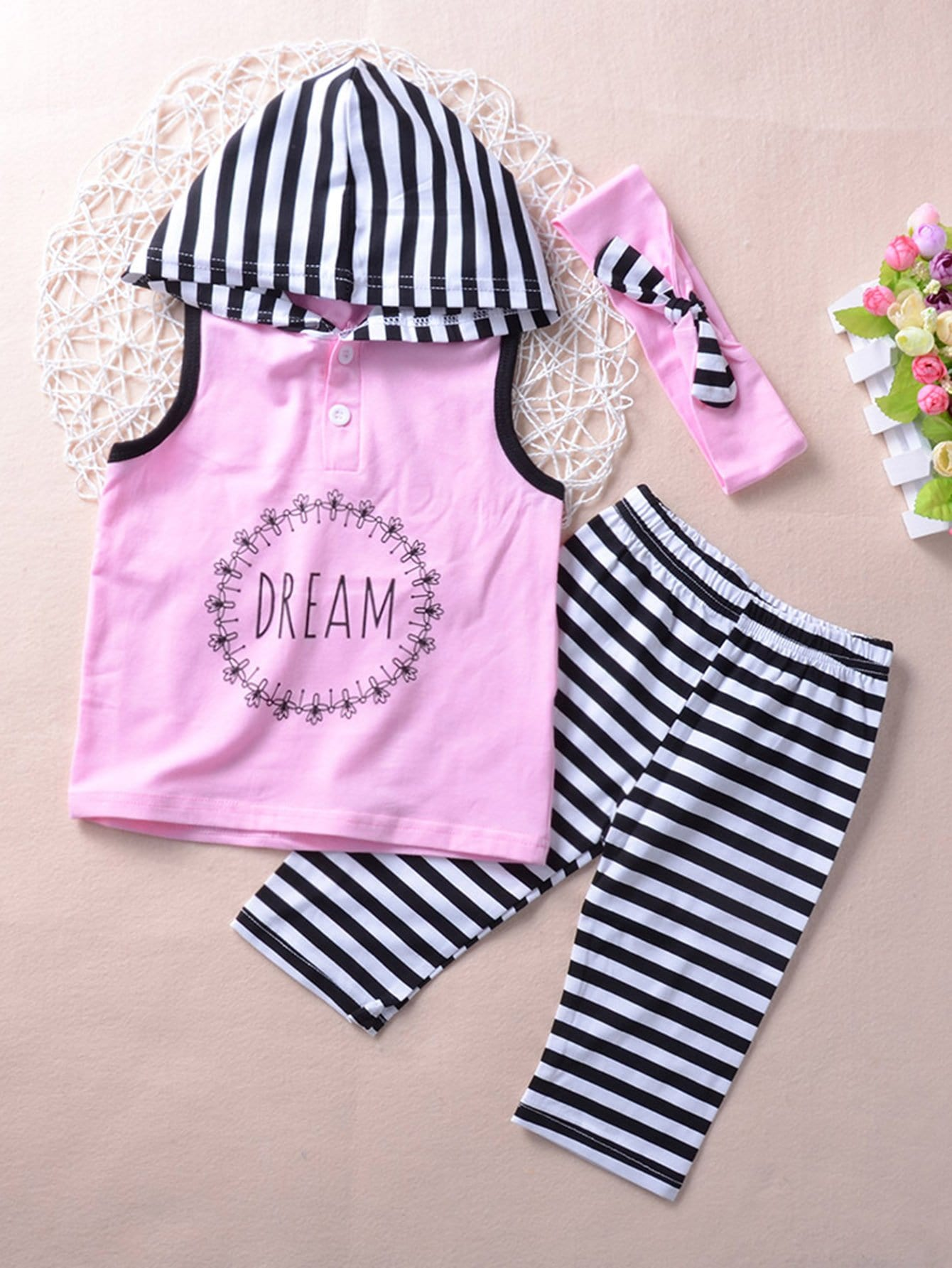 Kids Letter Print Striped Hooded Vest And Pants With Headband kids star and letter print striped blouse