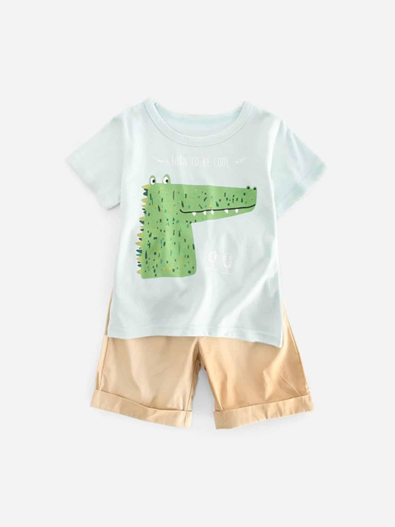 Boys Crocodile Print Tee With Roll Hem Plain Shorts цена 2017