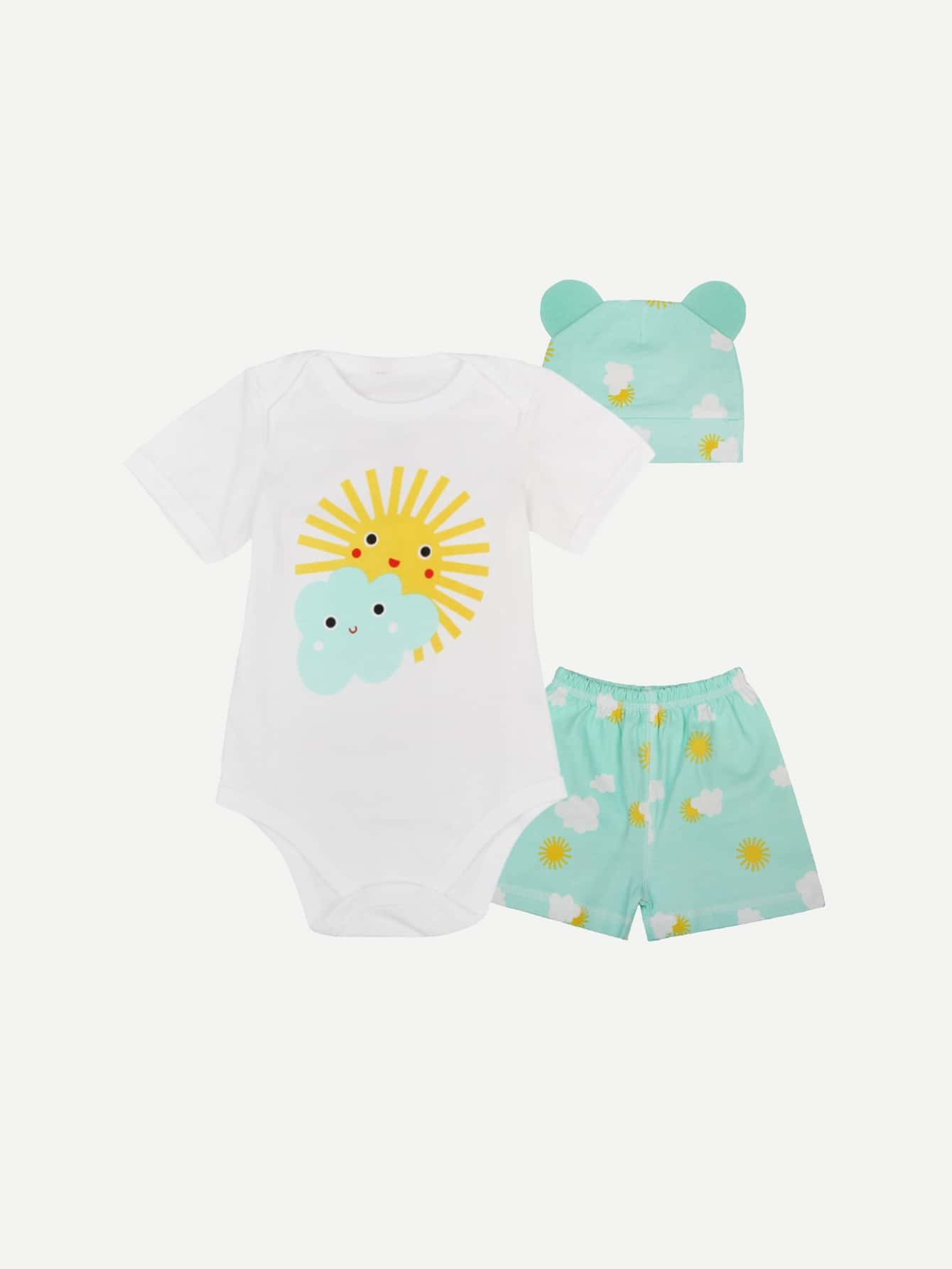 Boys Sun Print Romper And Shorts With Nightcap шланг walcom 60012