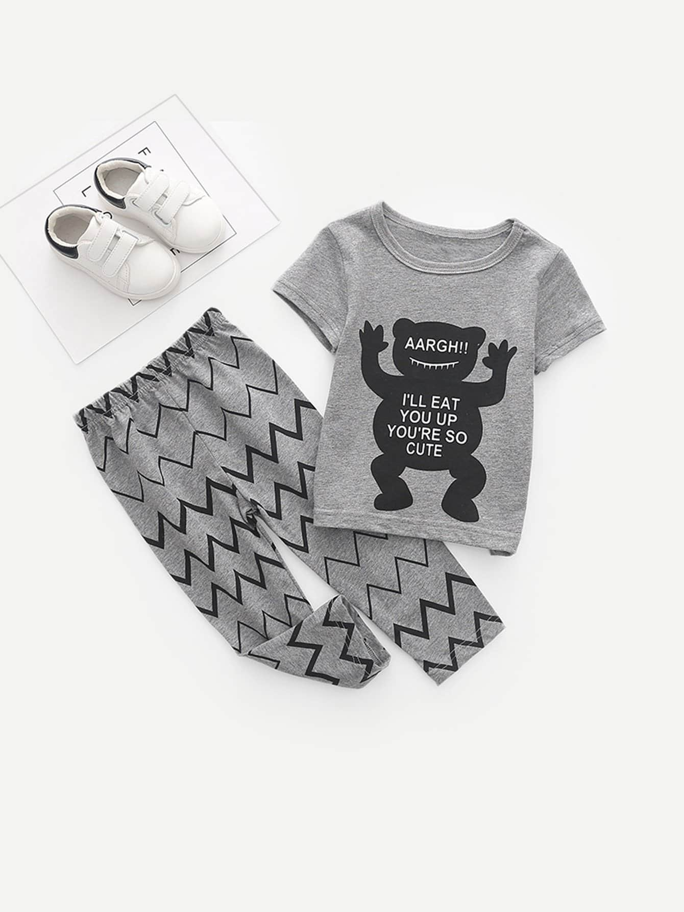Boys Letter Print Tee With Pants kids letter print sleeveless tee with tropical print pants