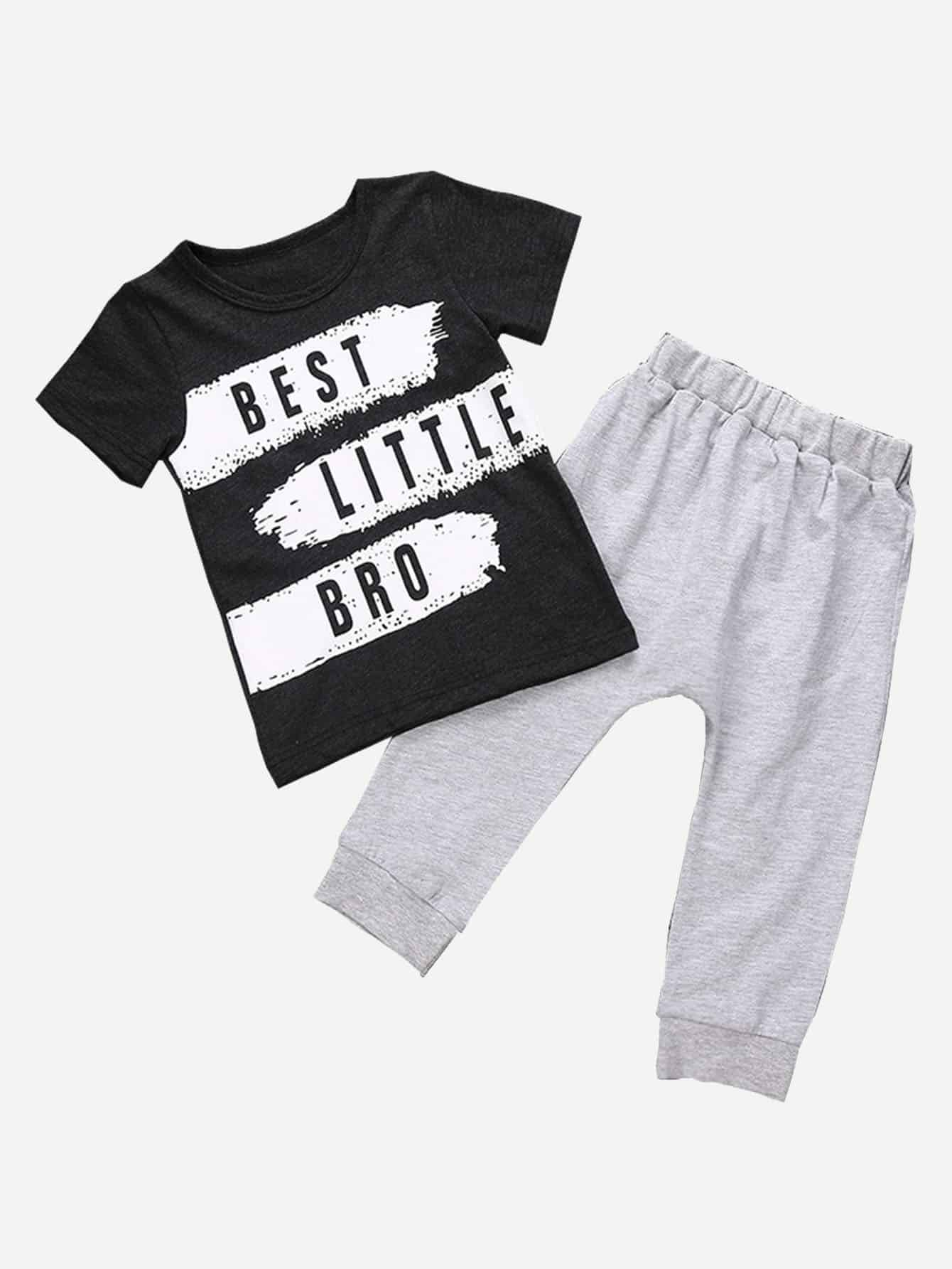 Boys Letter Print Tee With Plain Pants kids letter print sleeveless tee with tropical print pants