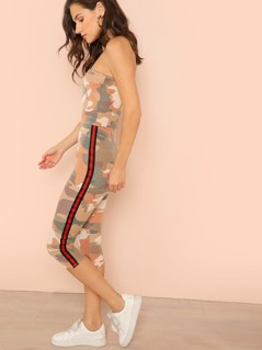 Strapless Soft Knit Camo Print Jumpsuit with Stripe Detail
