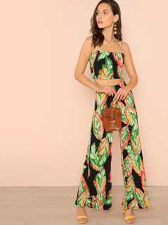 Tie Back Tropical Print Crop Top and Palazzo Pants Set