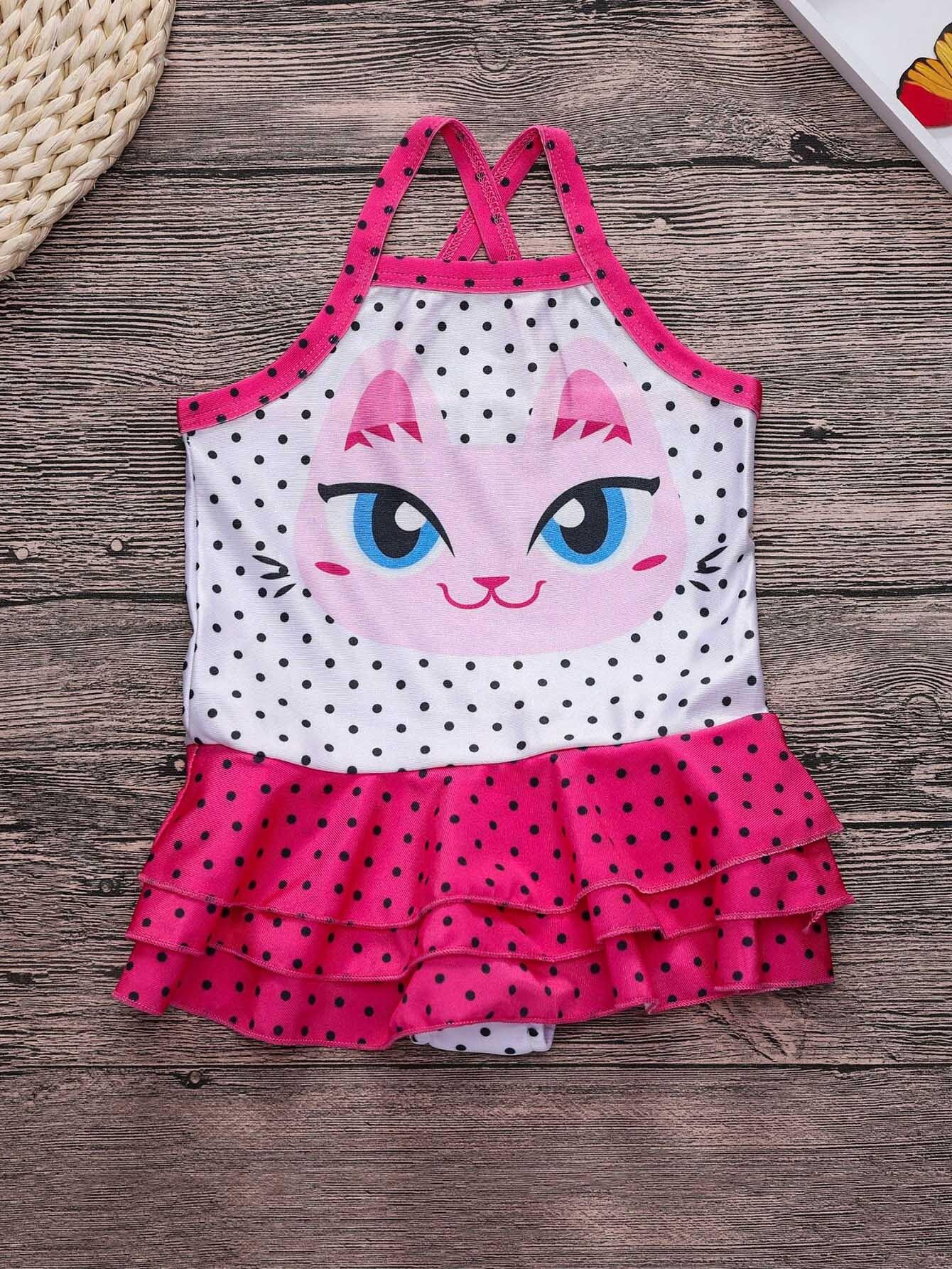 Купить Костюм для мальчиков Polk Dot Cat Ruffle Hem Swimsuit, null, SheIn