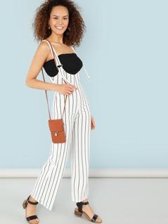 Suspender Strap Stripe Jumpsuit