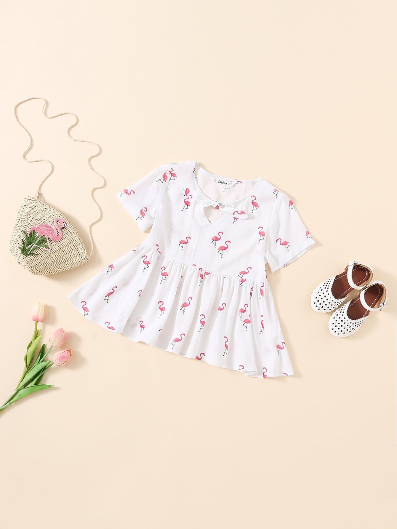 Allover Flamingo Print Knot Front Smock Вверх