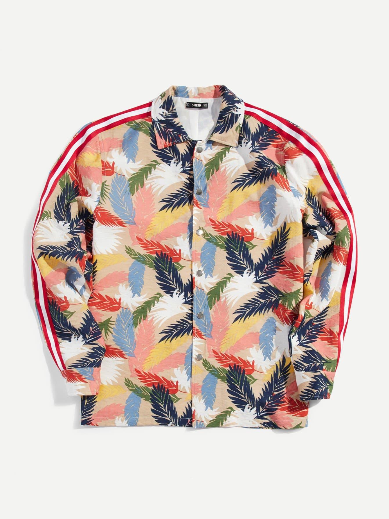 Мужская тропическая печать Полосатая боковая однослойная куртка