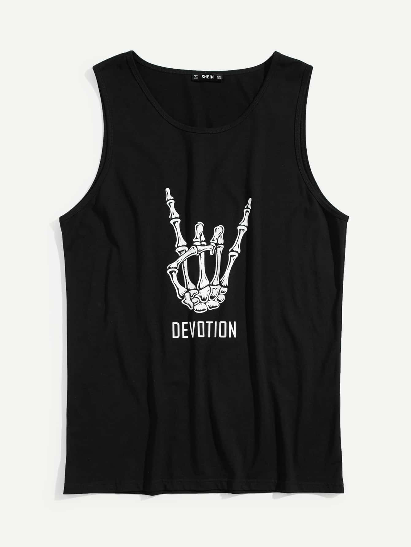 Men Skeleton Hand and Letter Print Tank Top letter graphic long tank top