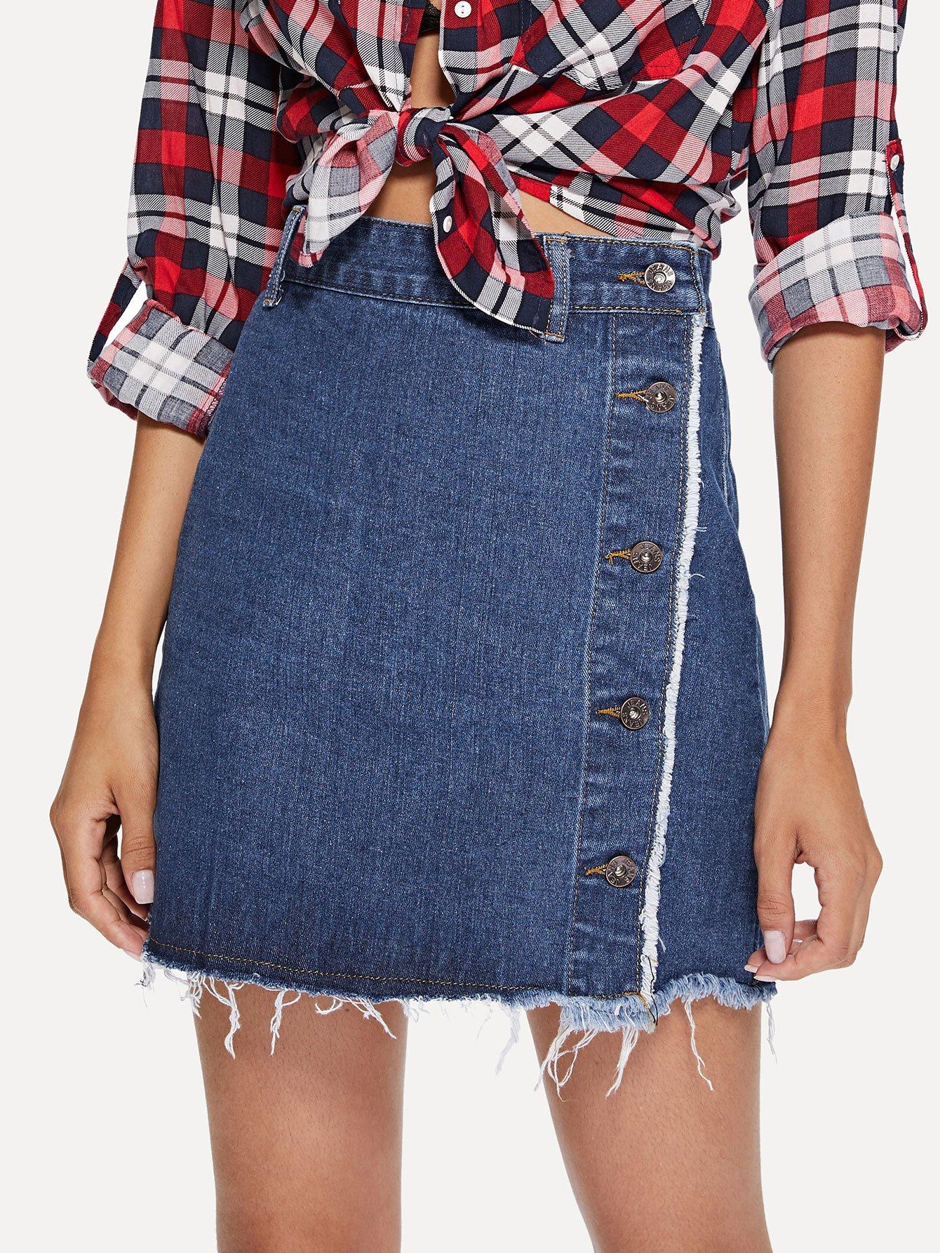 Buttoned Side Raw Hem Skirt girls single breasted raw hem skirt