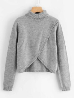 Marled Knit Overlap Sweater