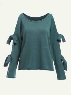 Bow Tied Sleeve Solid Jumper