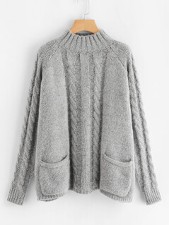 Pocket Patched Mixed Knit Sweater