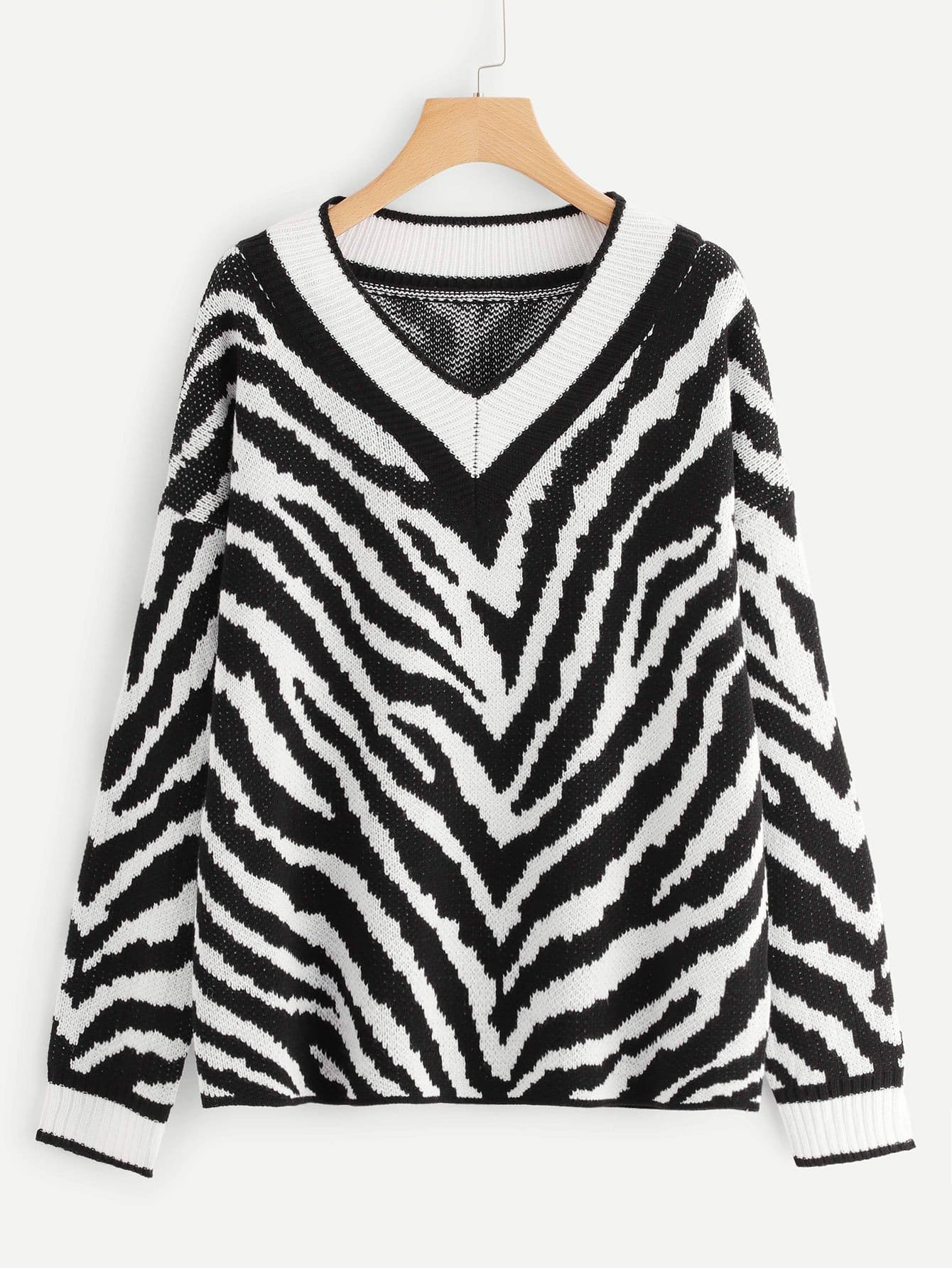 Tow Tone V Neck Striped Jumper intex 134501