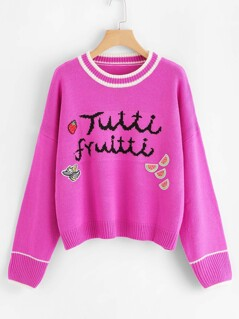 Neon Pink Letter Print Striped Jumper