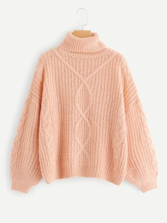 Rolled Neck Solid Cable-Knit Sweater