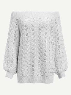 Off Shoulder Eyelet Detail Jumper