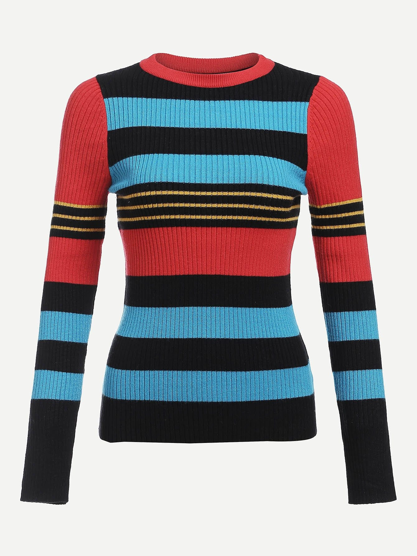 Colorblock Slim Fitted Ribbed Knit Jumper