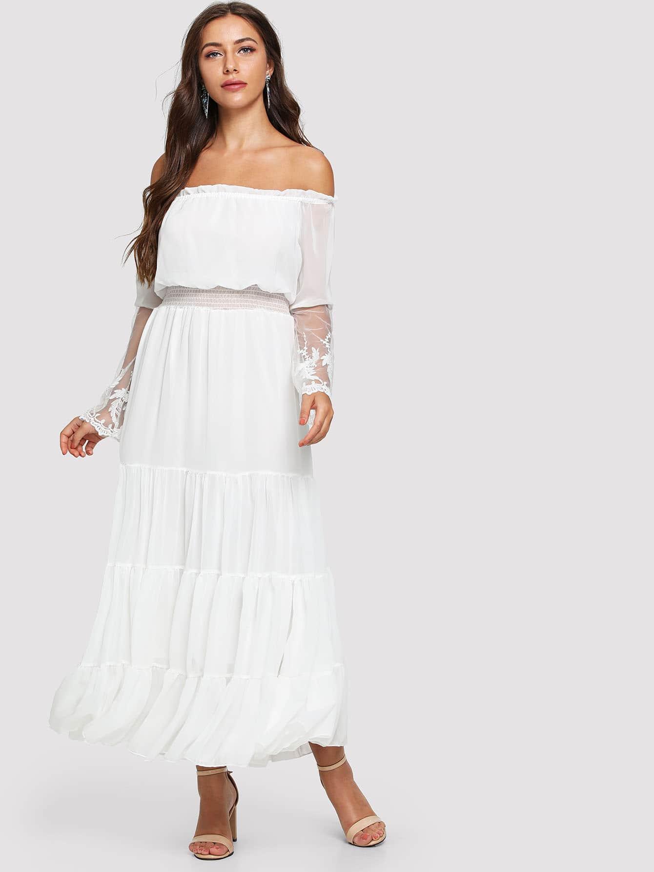 Off-Shoulder Lace Contrast Ruffle Dress lace off shoulder dress