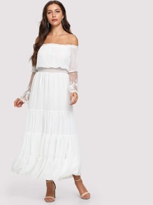 Off-Shoulder Lace Contrast Ruffle Dress