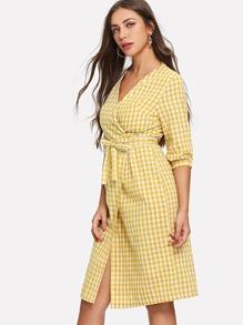 Surplice Wrap Tie Waist Plaid Dress