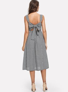 Button Front Deep V Neck Plaid Dress