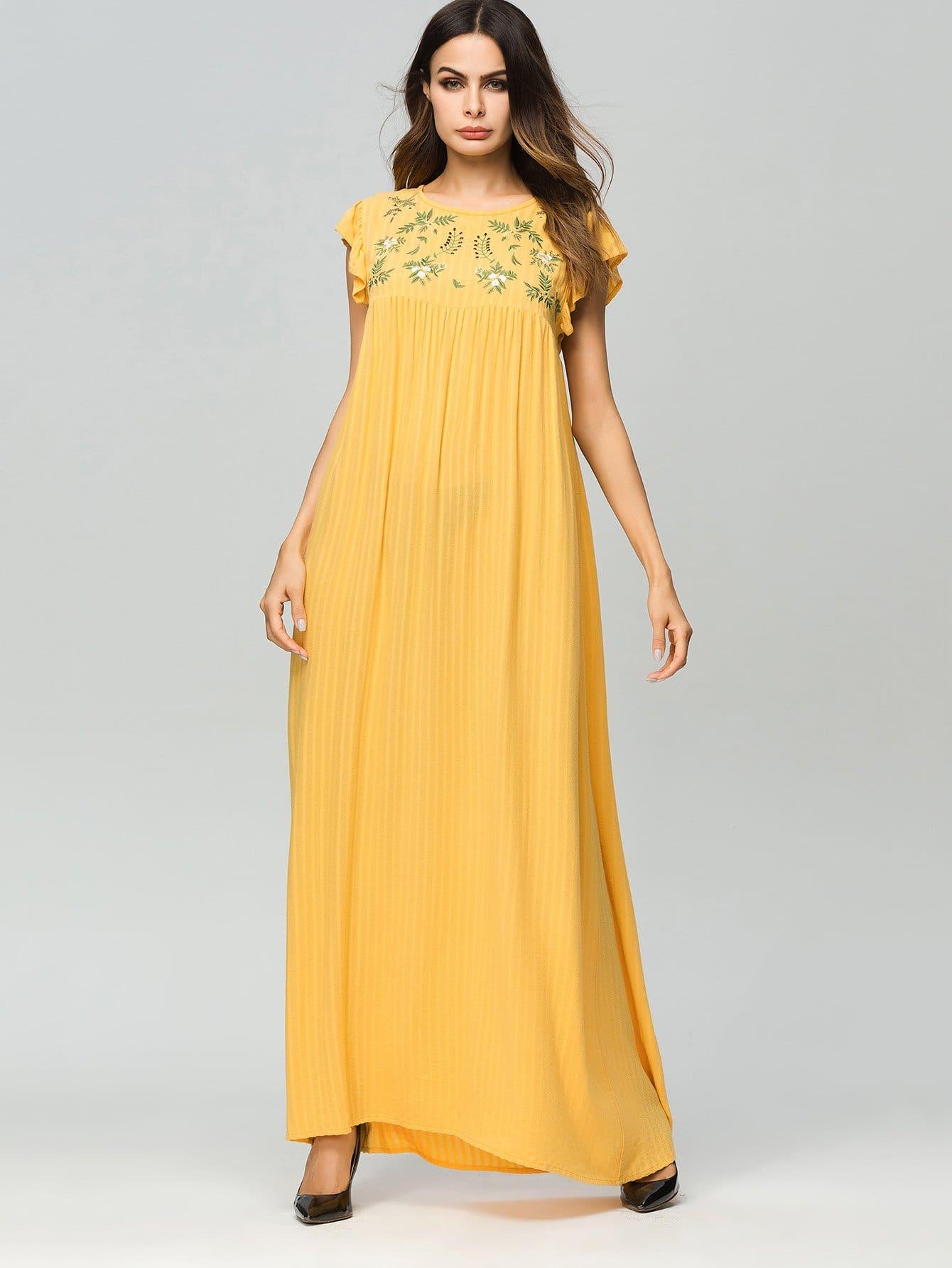 цена на Floral Embroidered Ruffle Longline Dress
