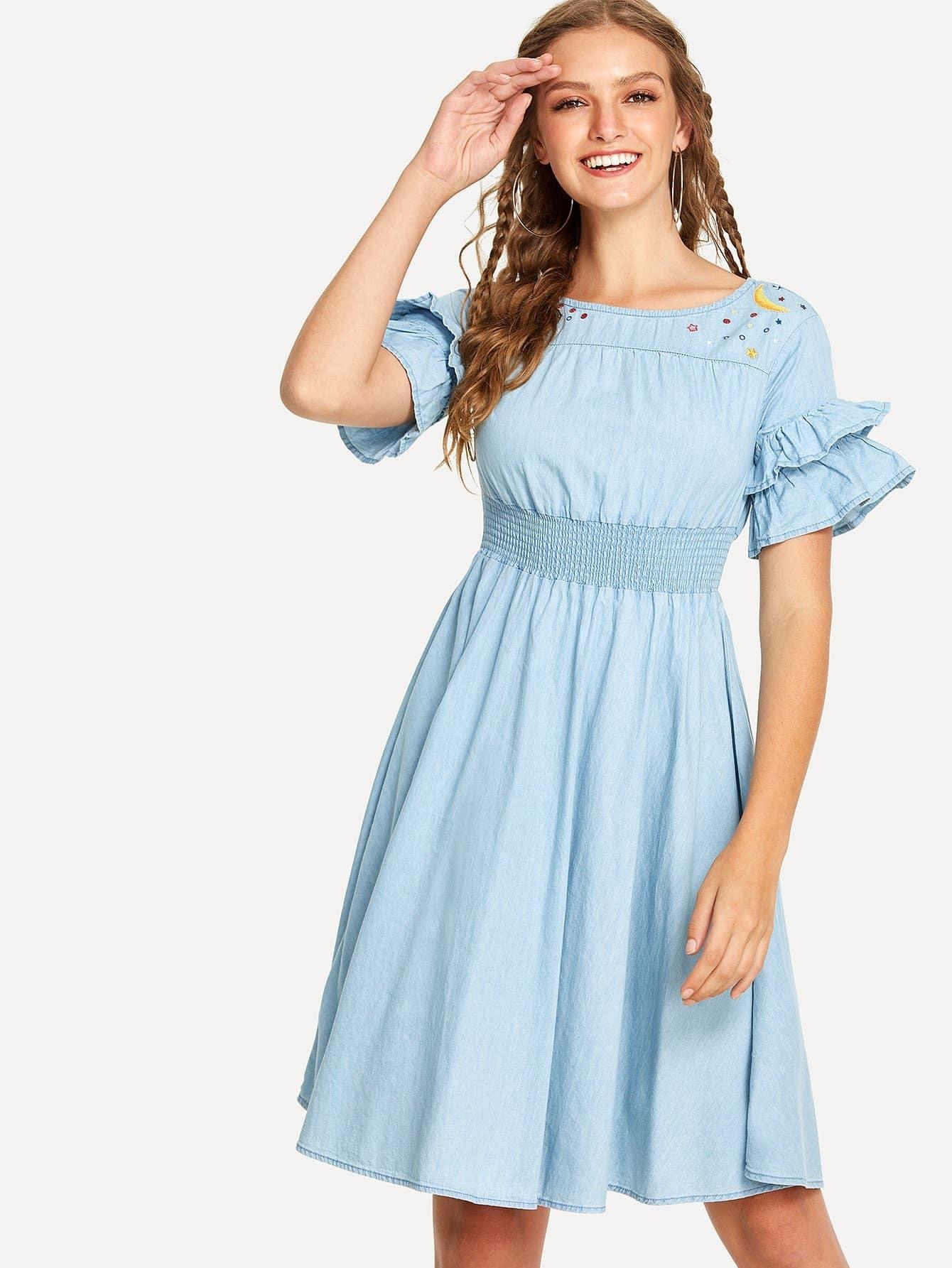 Flounce Sleeve Pleated Denim Dress flounce sleeve striped denim dress