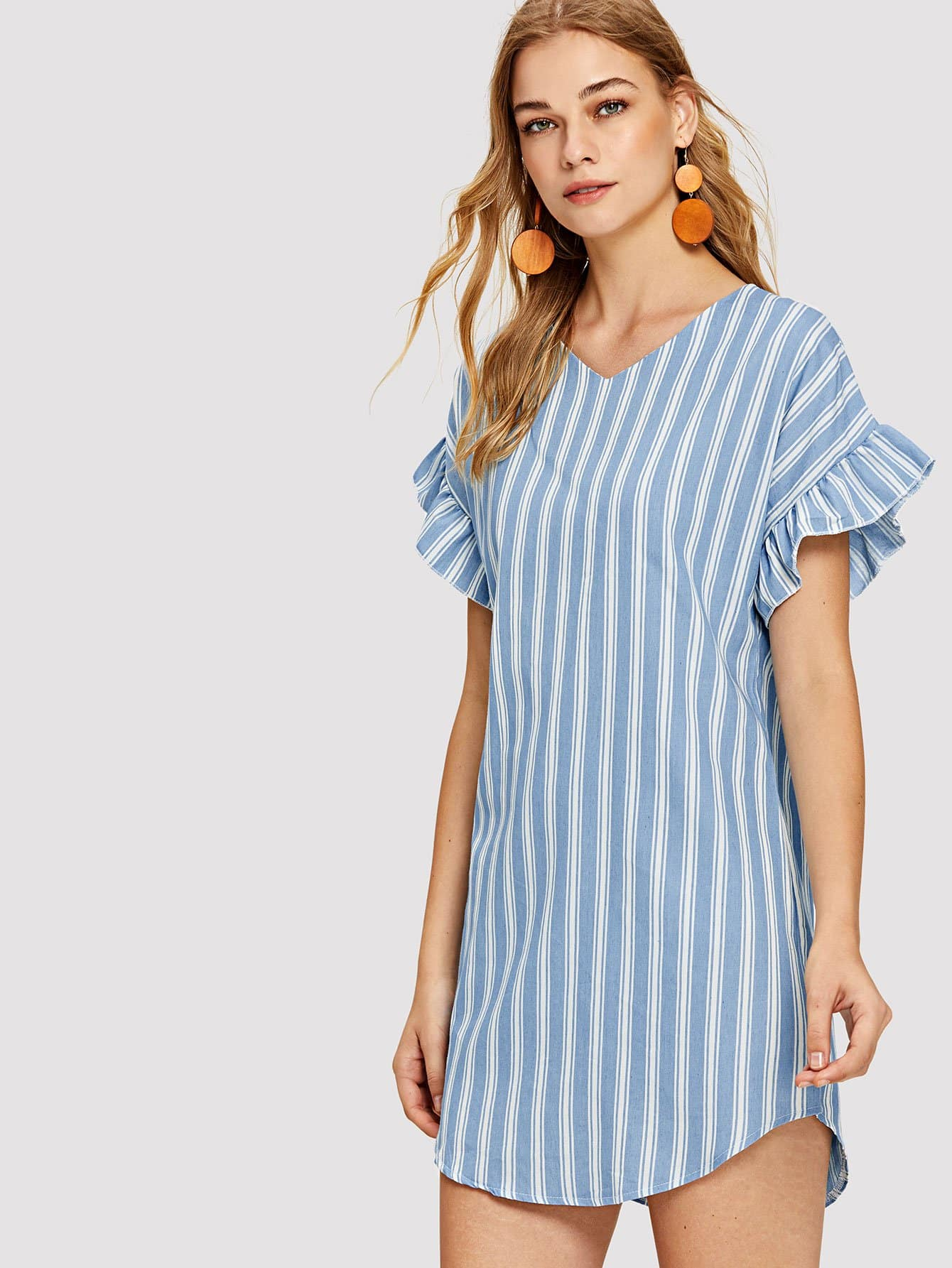 Flounce Sleeve Striped Denim Dress flounce sleeve striped denim dress