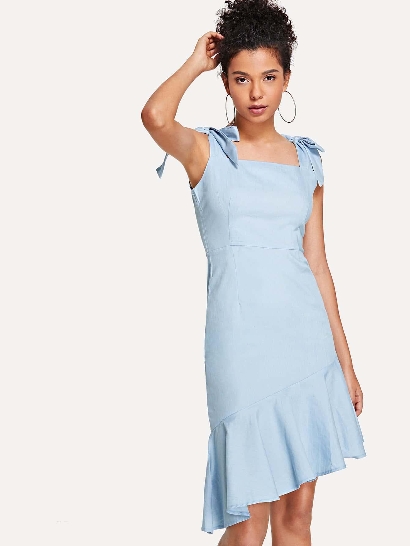 Купить Узел Асимметричное платье из джинсовой ткани, Starl Lane, SheIn