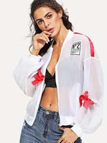 Bow Detail Drop Shoulder Jacket