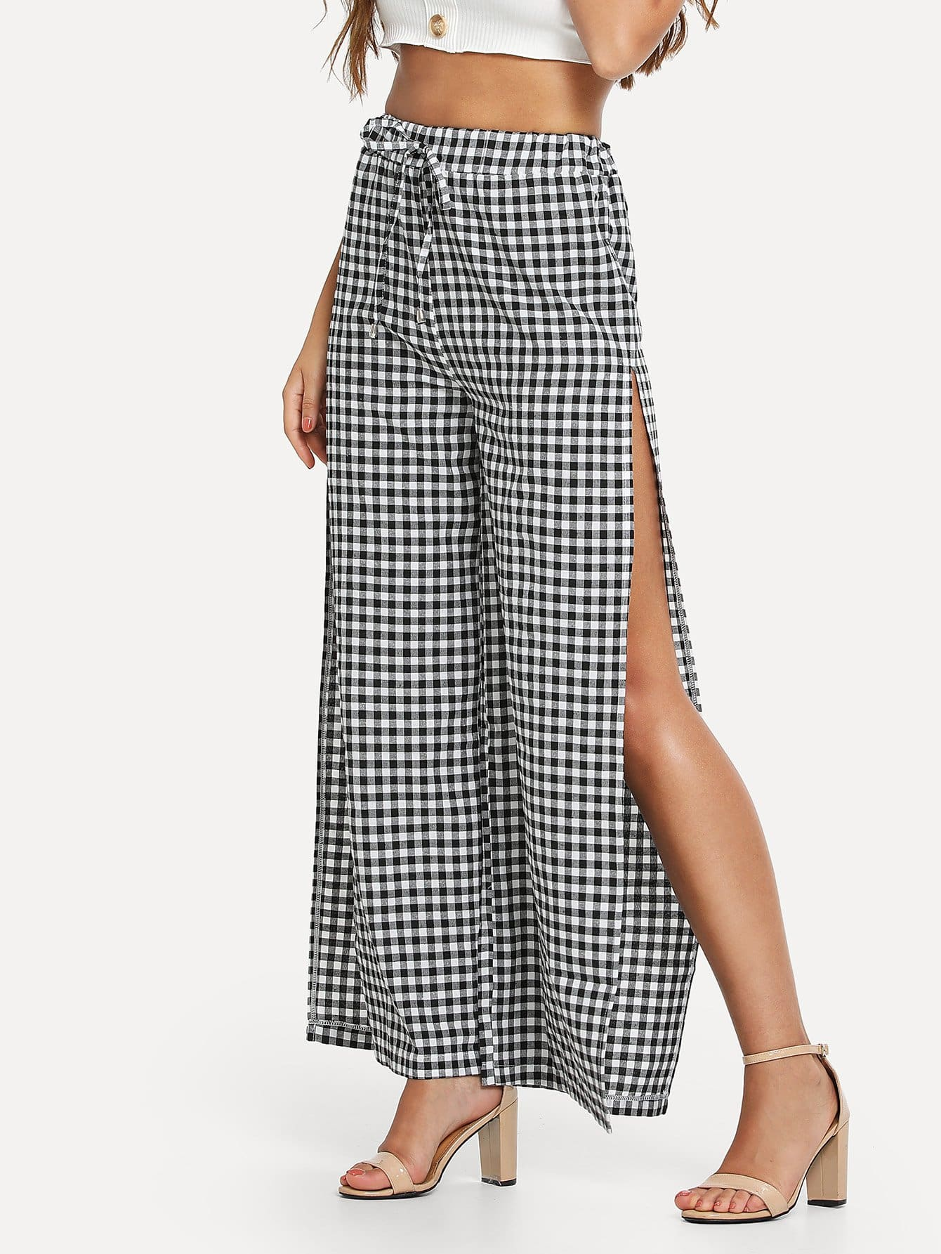 High Split Gingham Wide Leg Pants s xxl 2018 skinny slim high waist pencil pants women stretch sexy denim jeans bodycon leg split trousers