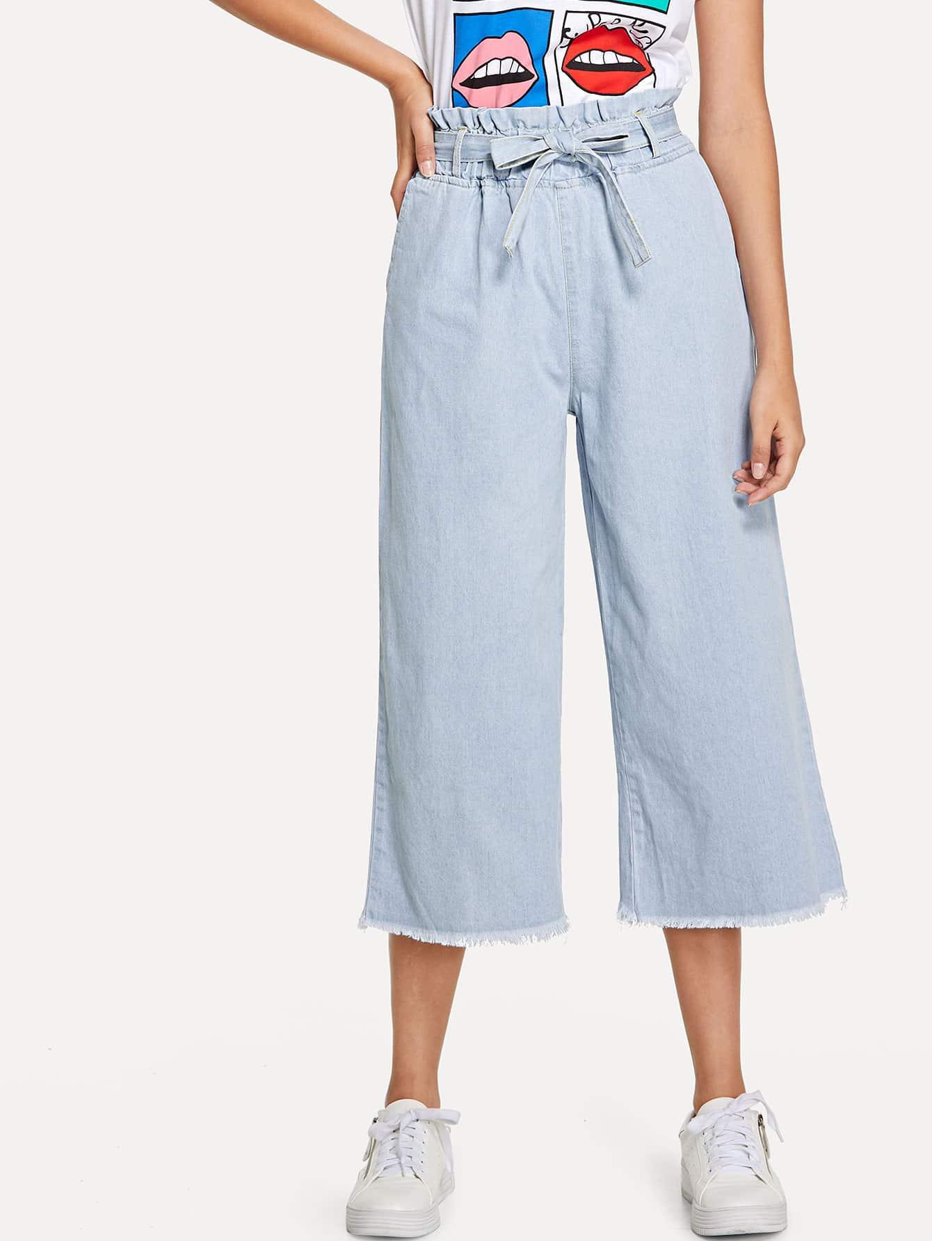 Raw Hem Tie Waist Wide Leg Jeans tie waist seam front jeans