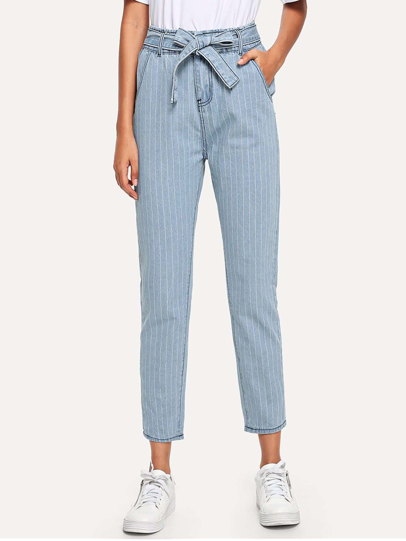 Tie Waist Striped Jeans tie waist seam front jeans