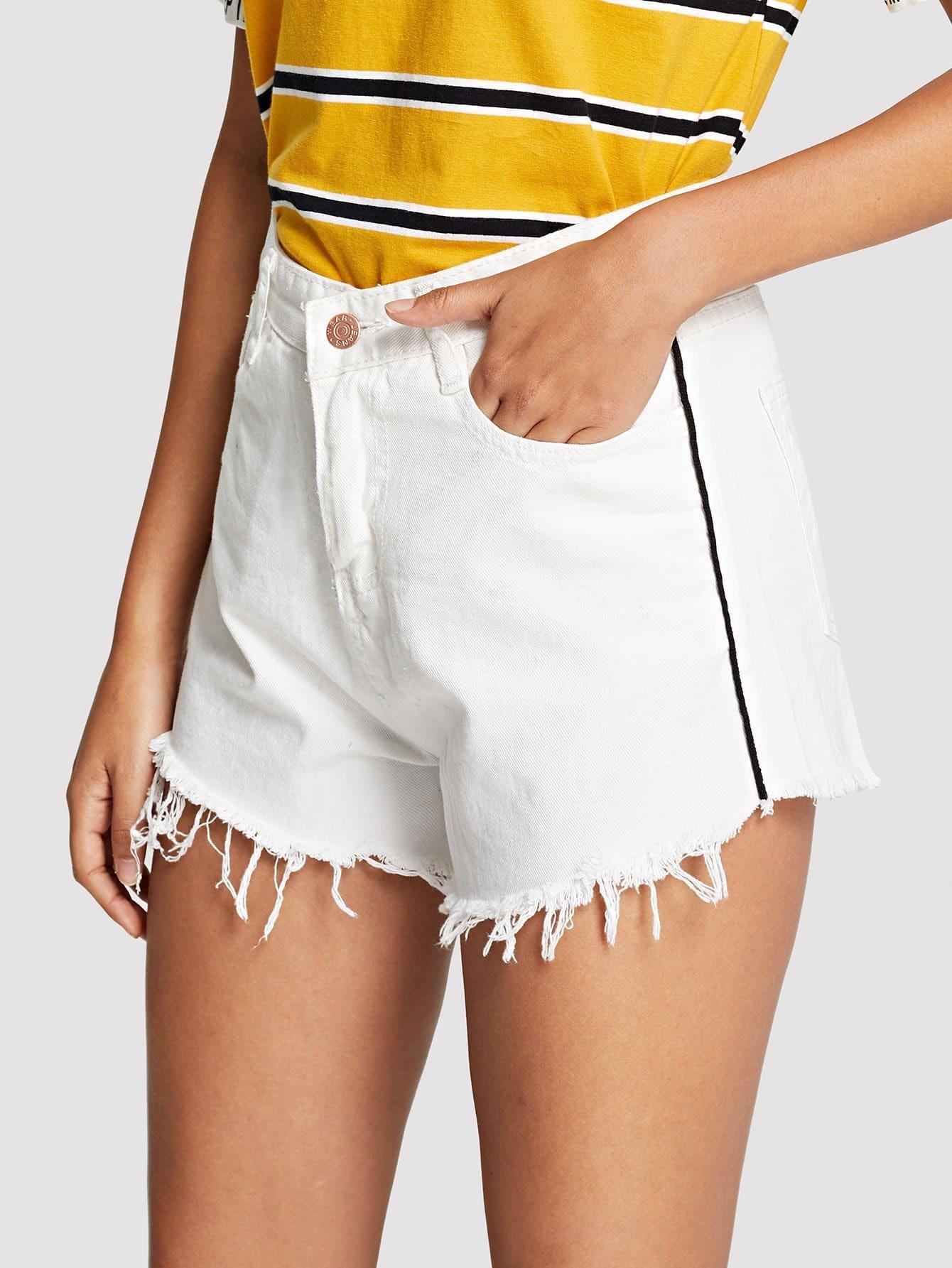 Купить Оборванные шорты из джинсовой ткани, Starl Lane, SheIn