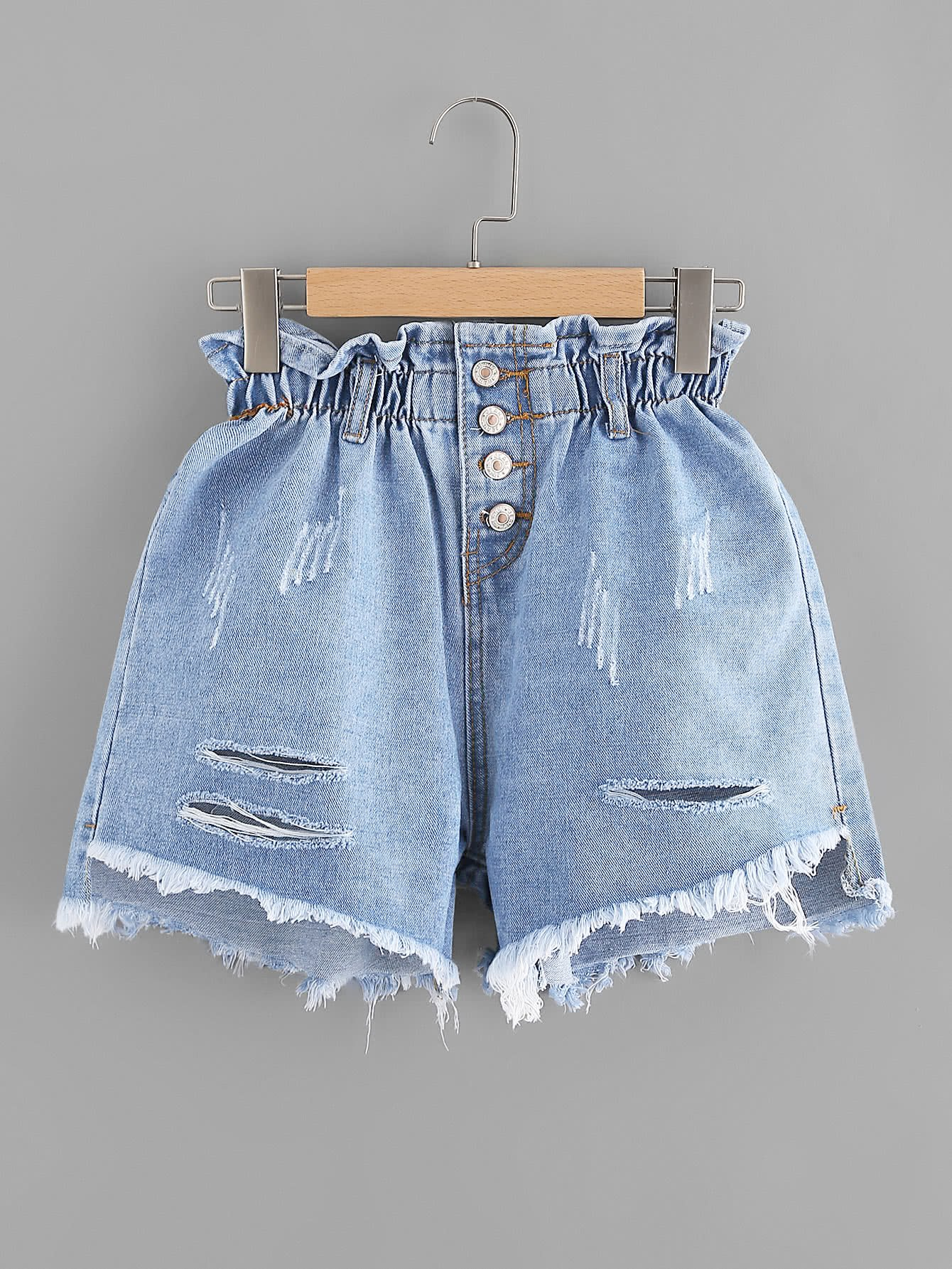 Ripped Elastic Waist Frayed Hem Denim Shorts sweet elastic waist cartoon doll embellish ripped denim shorts for girls