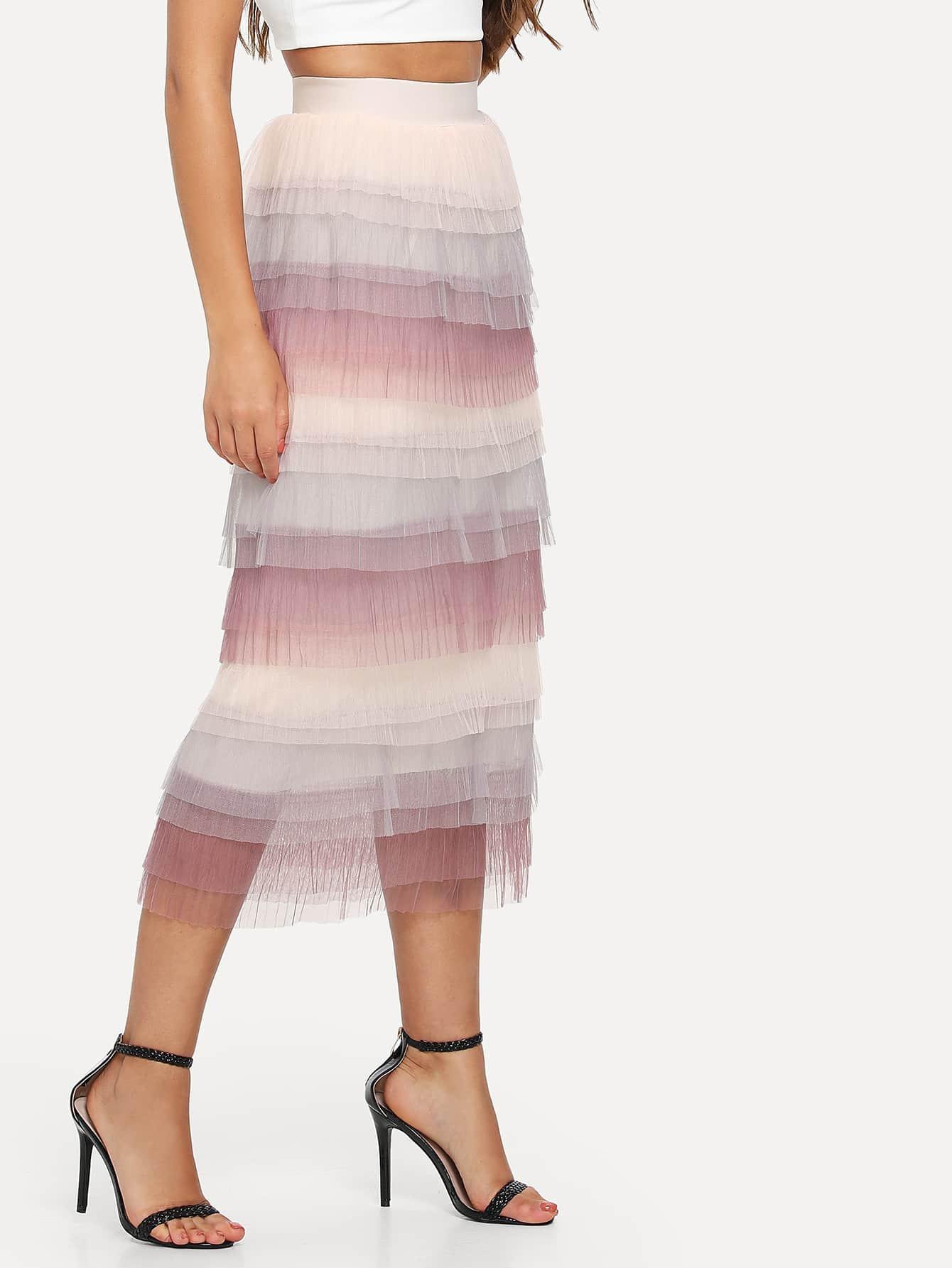 Tiered Layered Mesh Skirt layered organza skirt