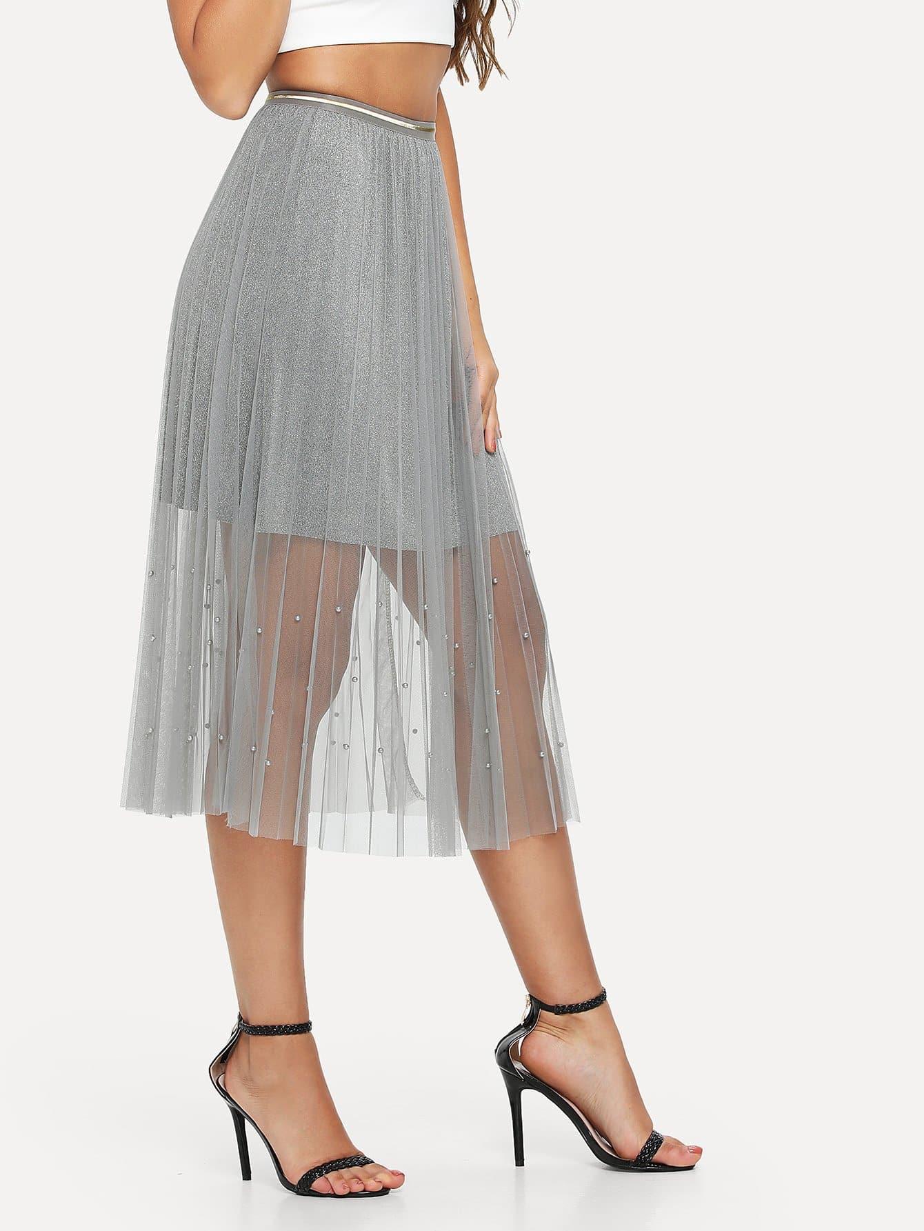 Beaded Mesh Skirt