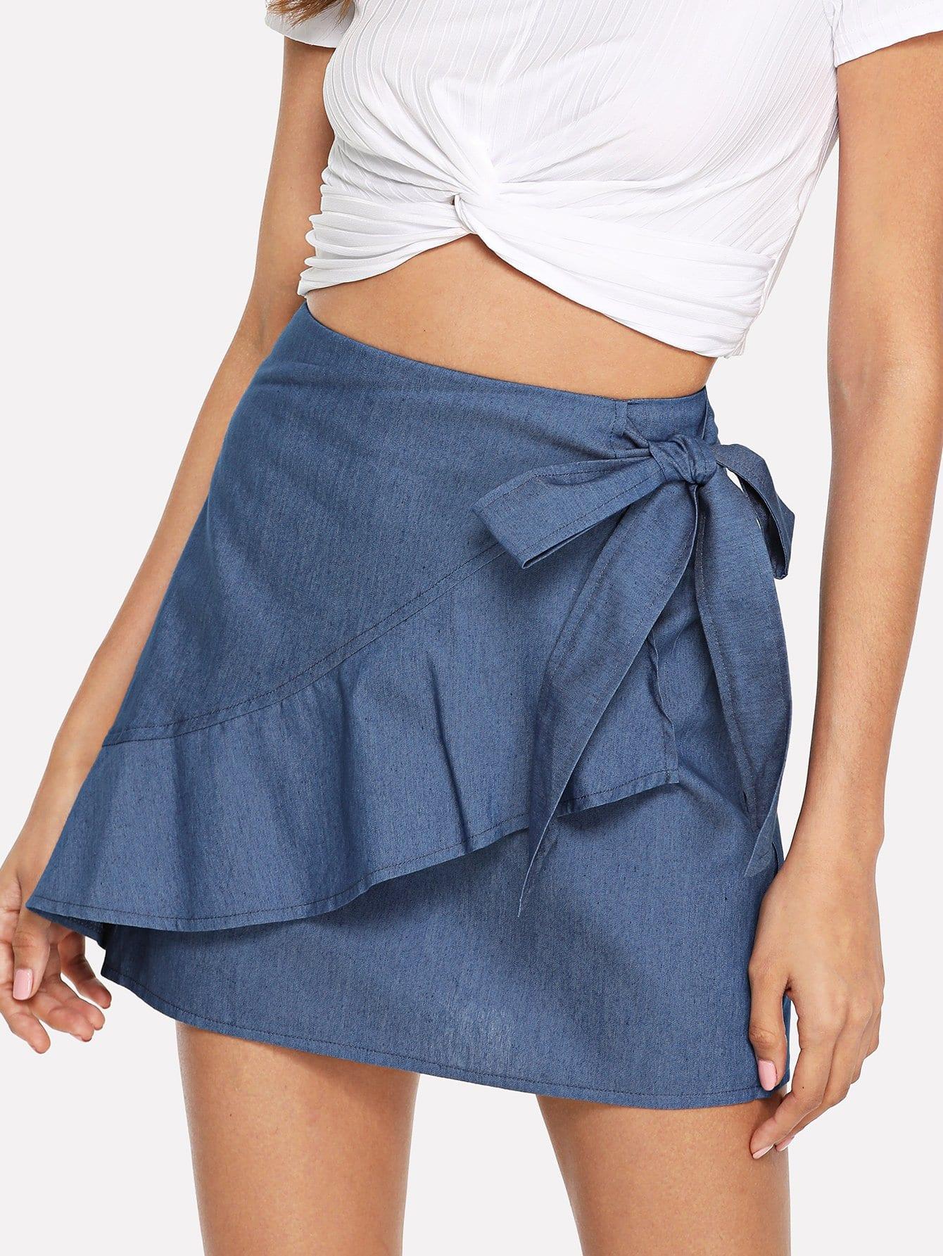 Купить Фальшивая юбка с галстуком, Gabi B, SheIn