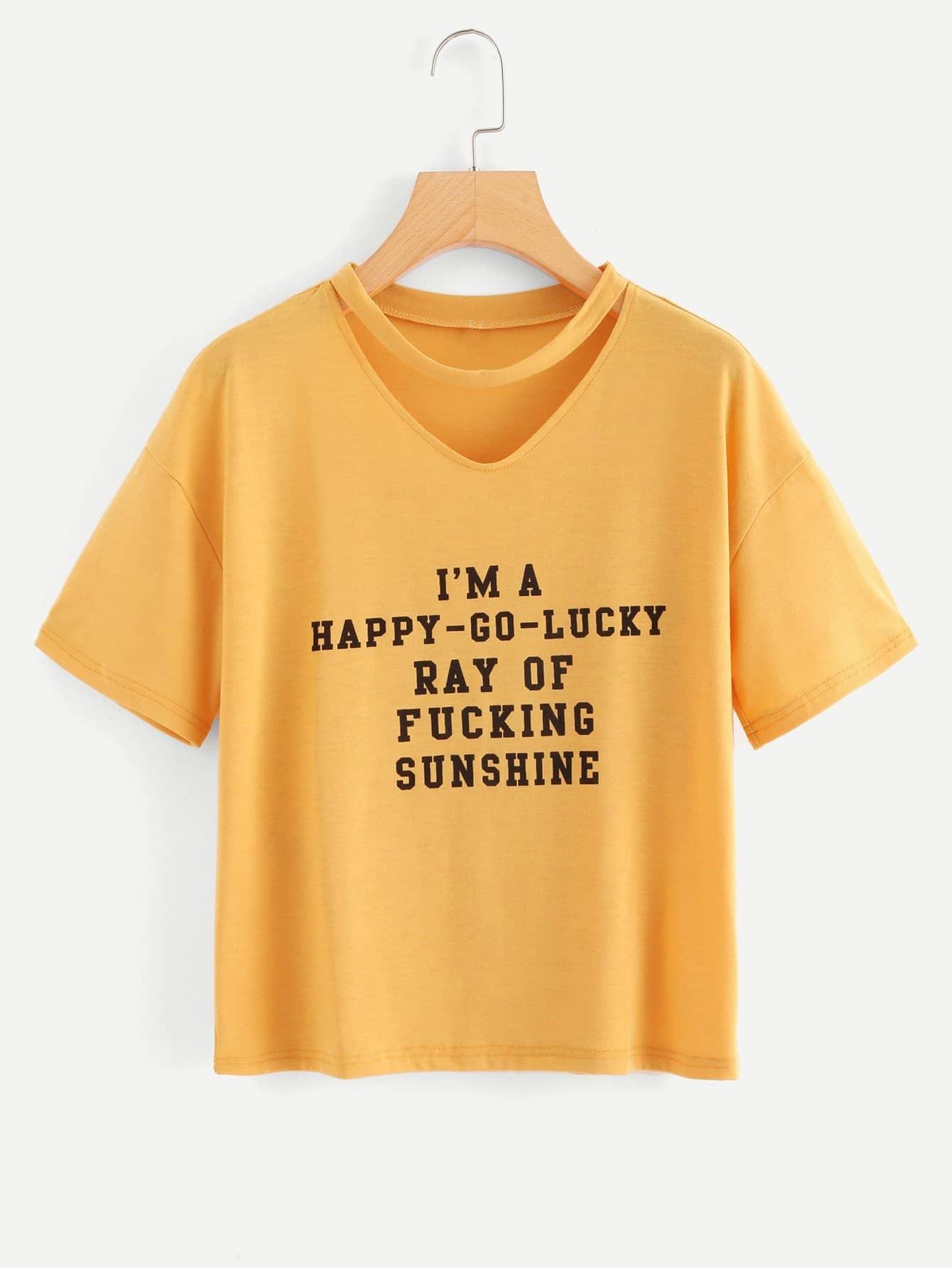 Купить Рубашка с коротким рукавом с печатью письма, null, SheIn