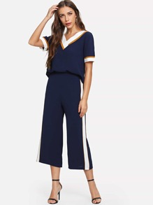 Stripe Contrast Top & Wide Leg Pants