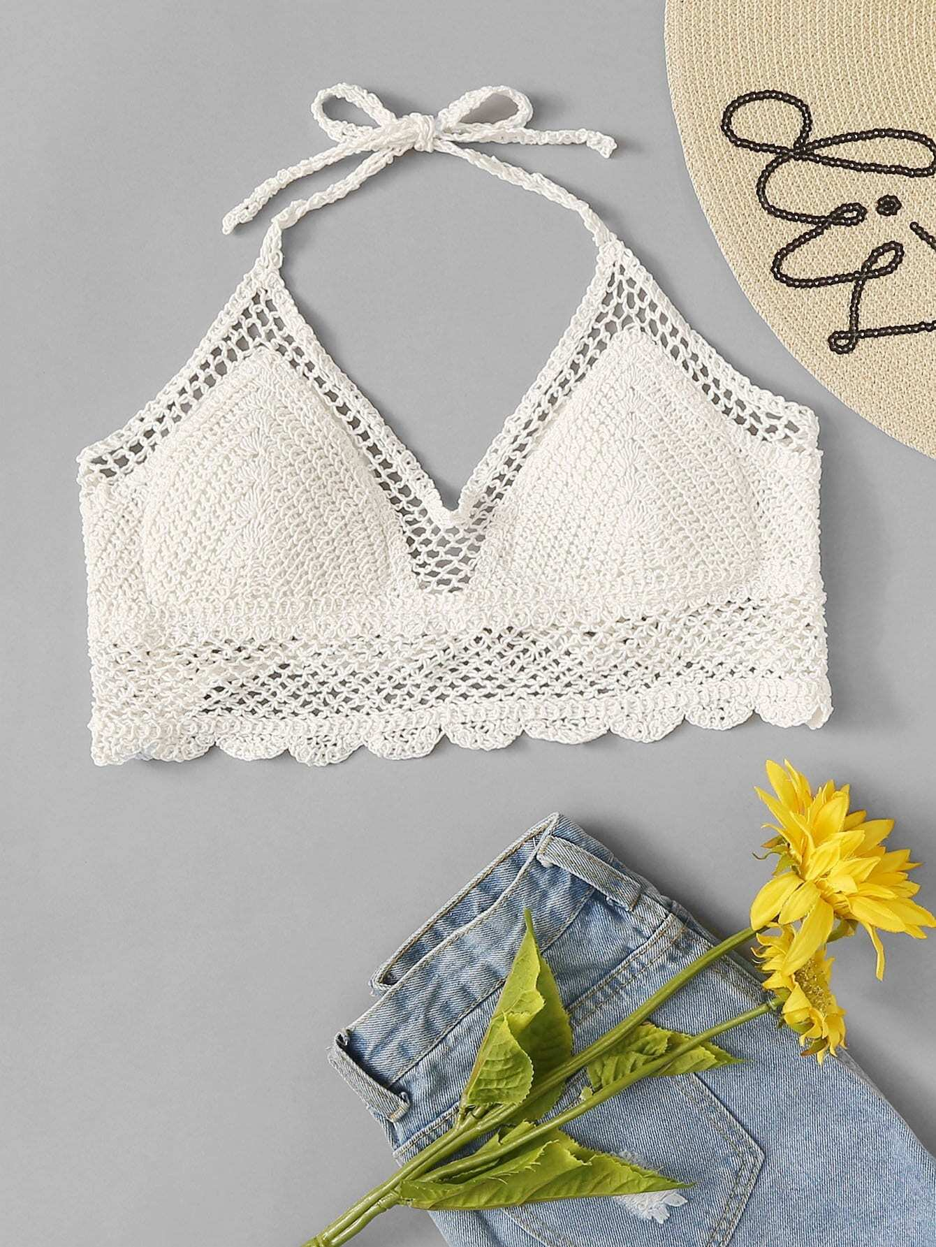 Crochet Scallop Halter Top scallop edge halter top