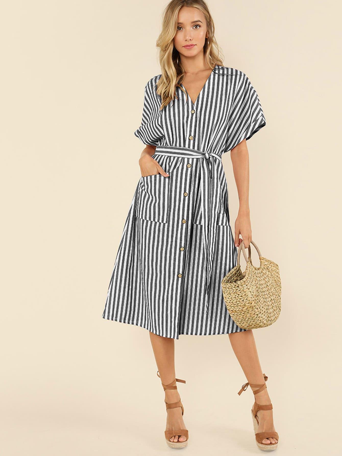 Button Up Pocket Front Belted Striped Dress fold over button up front striped shirt dress