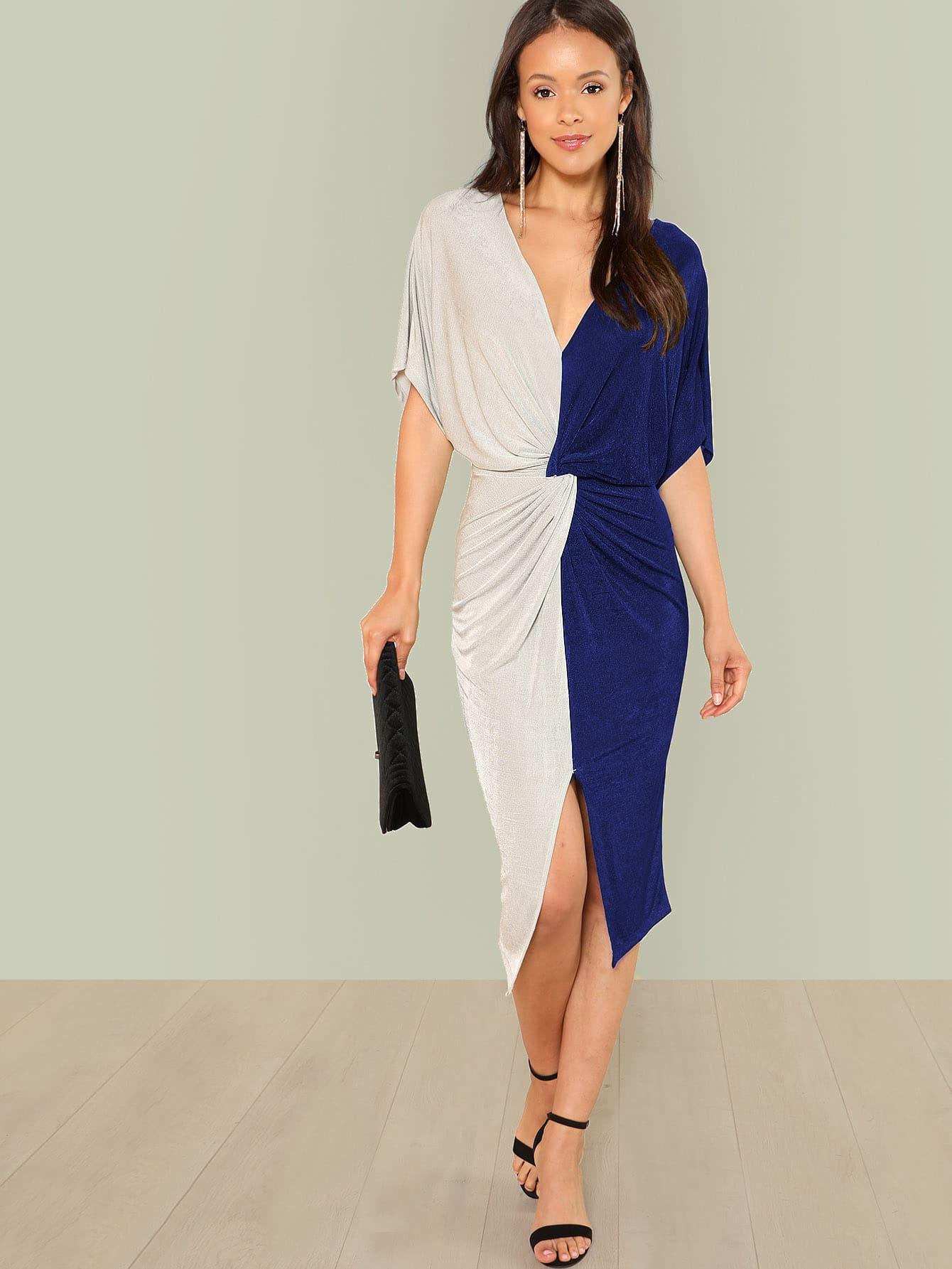 Two Tone Twist Waist Dress
