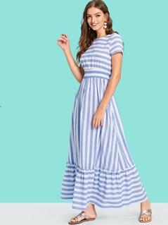 Striped Shirred Waist Pep Hem Dress